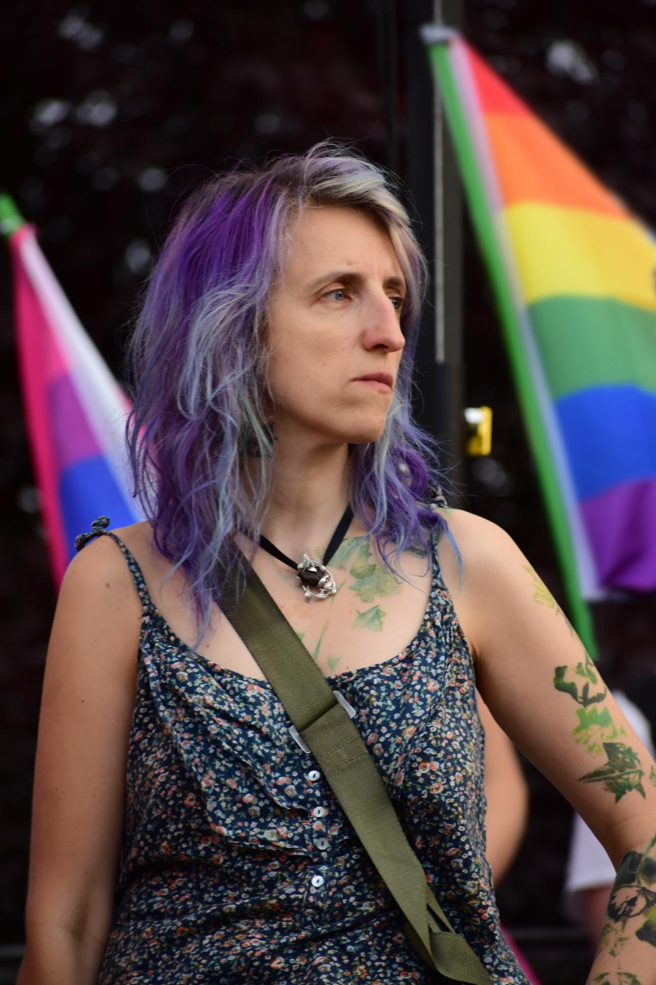 Das Bild zeigt Monika Pacyfka Tichy am 10.09, während des Protestes gegen die Verhaftung von Margot.